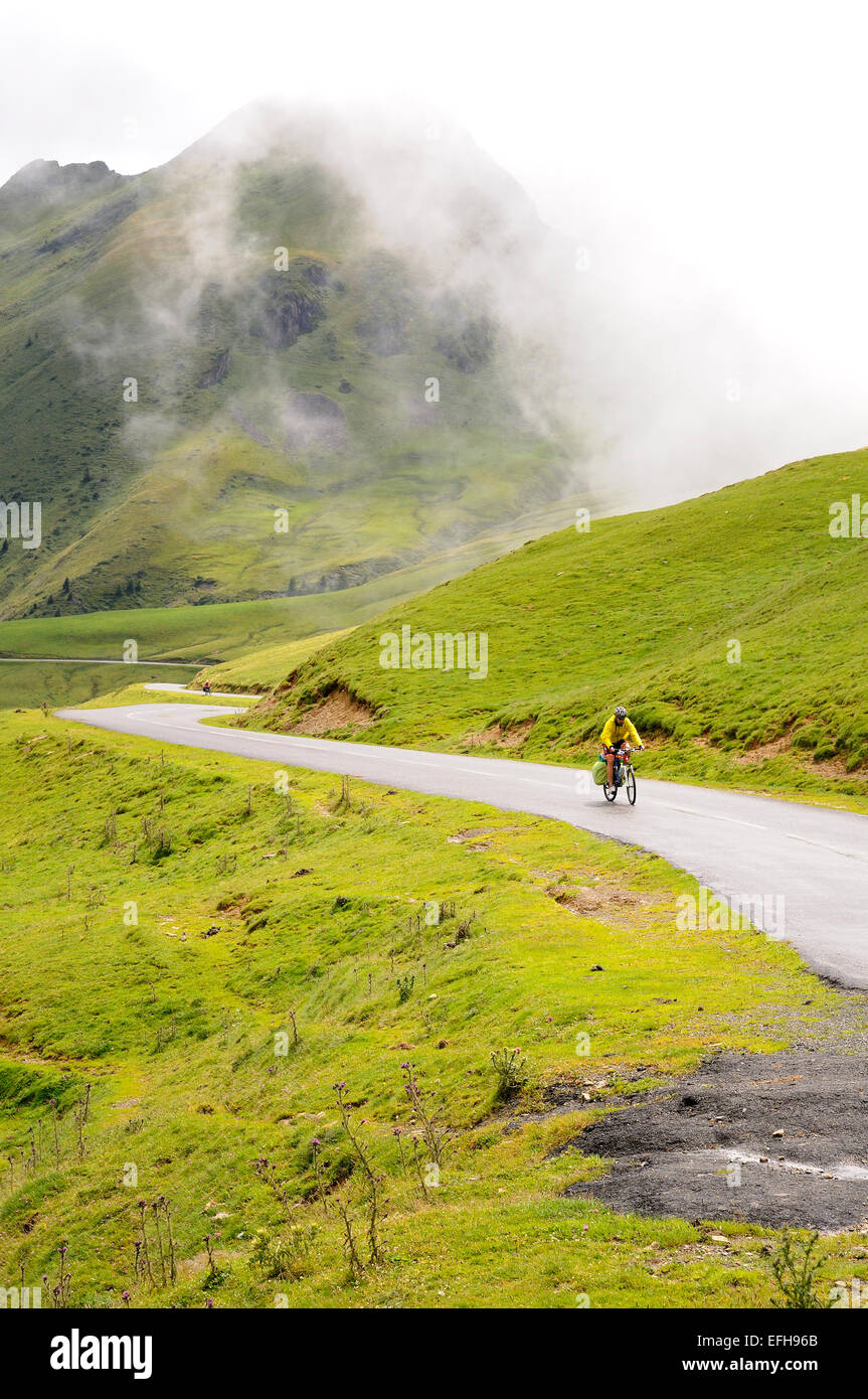 One cyclist on Col d'Aubisque (1709m), Pyrenees (France). Stock Photo