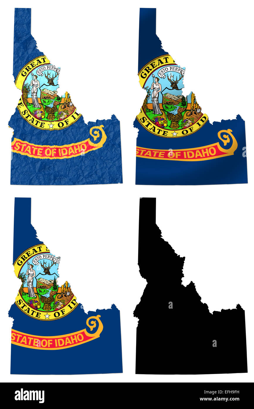 US Idaho state flag over map - Stock Image