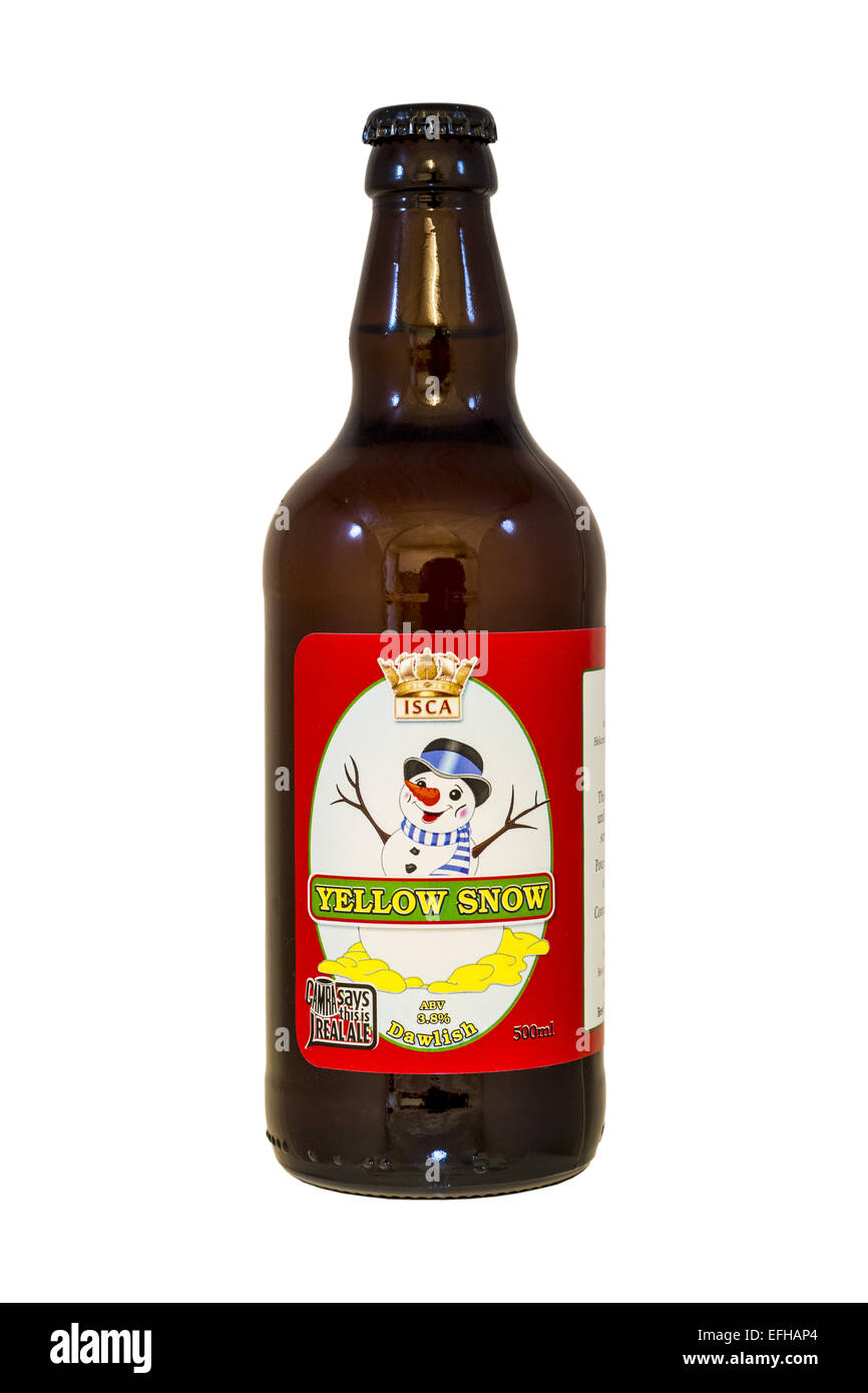 Isca Ales Ltd, Dawlish Brewery - Yellow Snow bottled beer - current @ 2015. - Stock Image