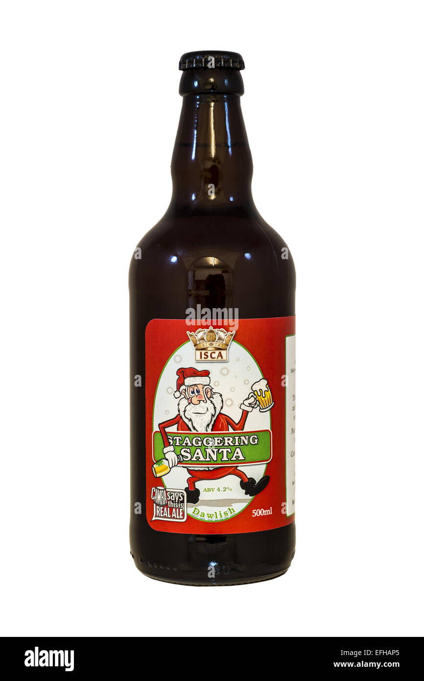 Isca Ales Ltd, Dawlish Brewery - Staggering Santa bottled beer - current @ 2015. - Stock Image