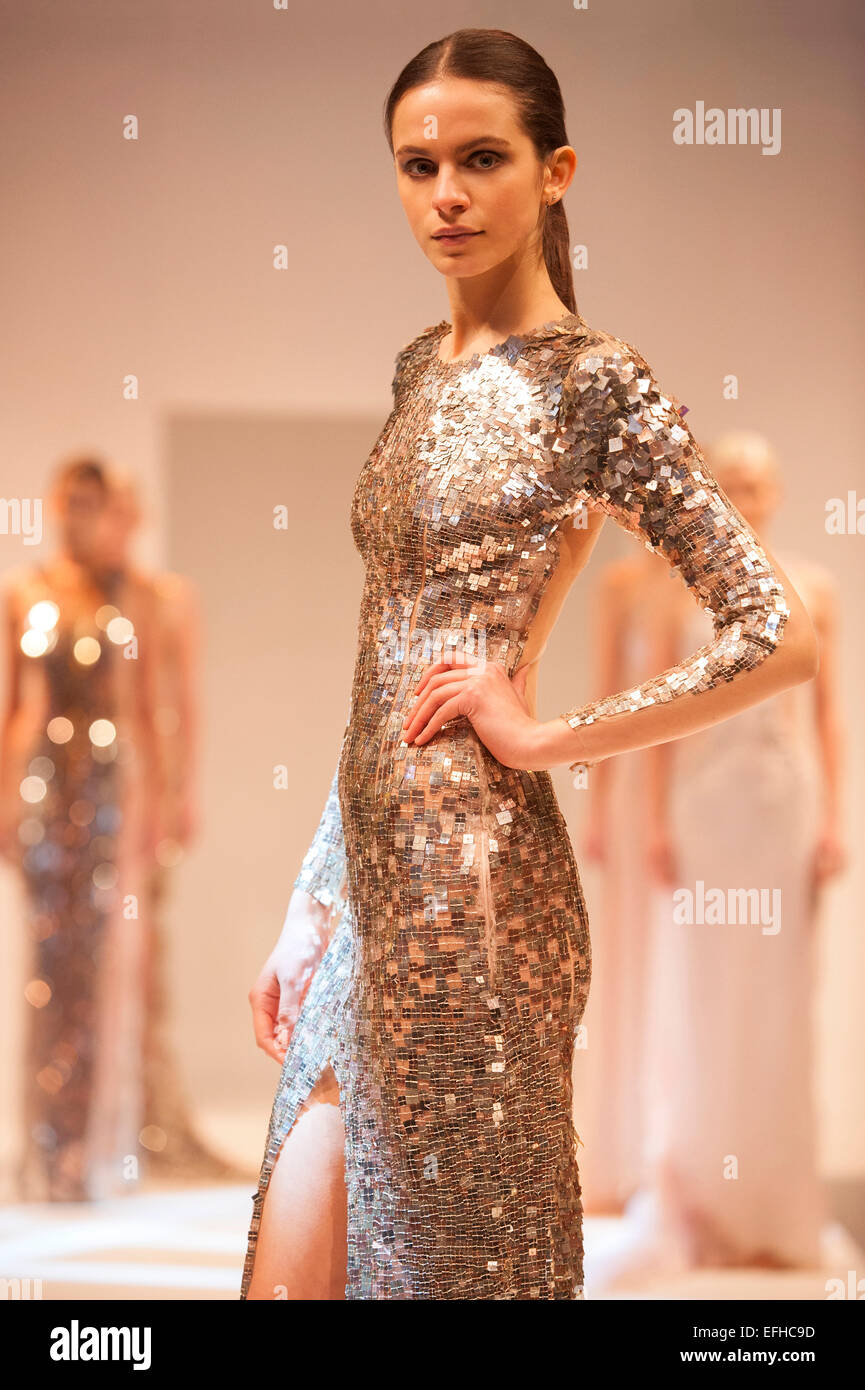 Models on the catwalk during a Julien Macdonald fashion show - Stock Image