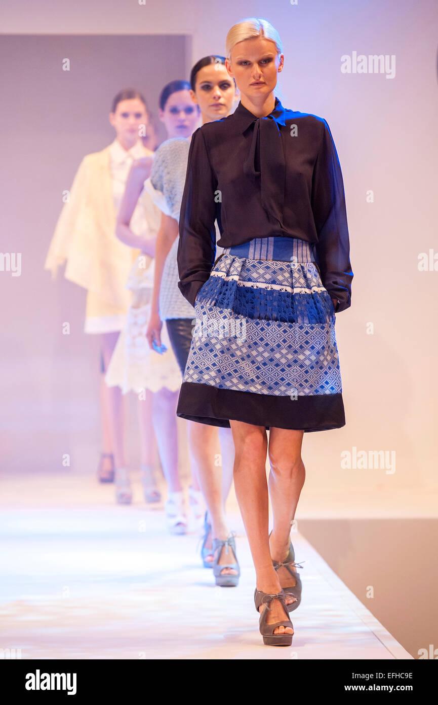 Fashion models on the catwalk during a Bora Aksu fashion show - Stock Image