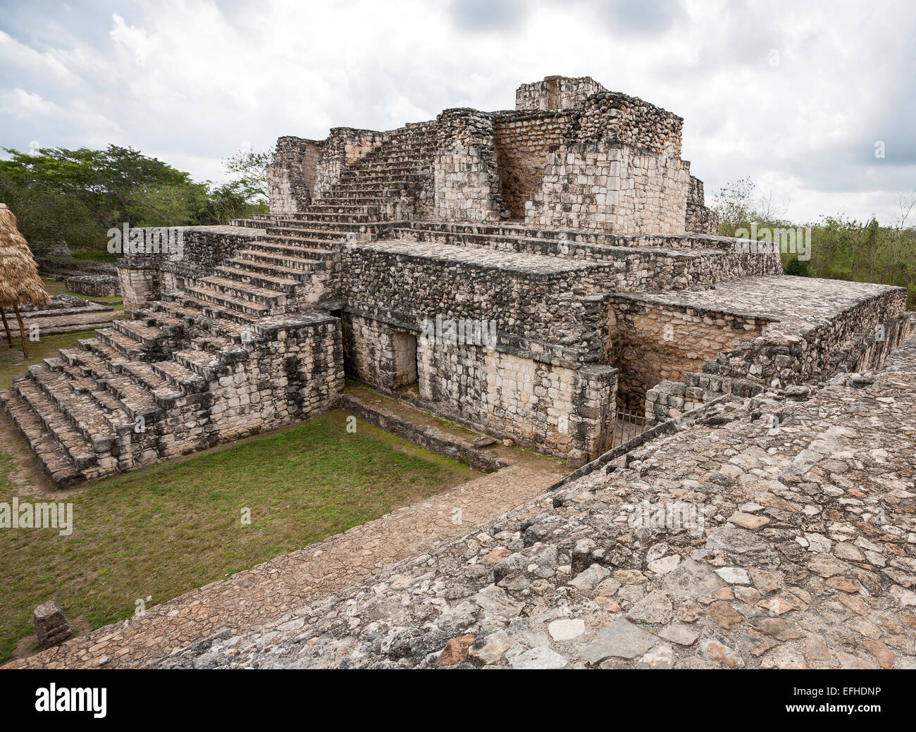 Rear of the Oval Palace at Ek' Balam. This structure is assumed to have had cosmological ceremonial use.  It - Stock Image