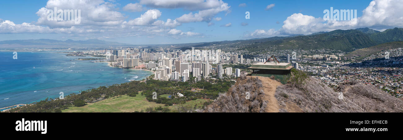 Honolulu Panorama from Diamond Head. A wide and detailed view of Waikiki and the rest of the city from the East. - Stock Image