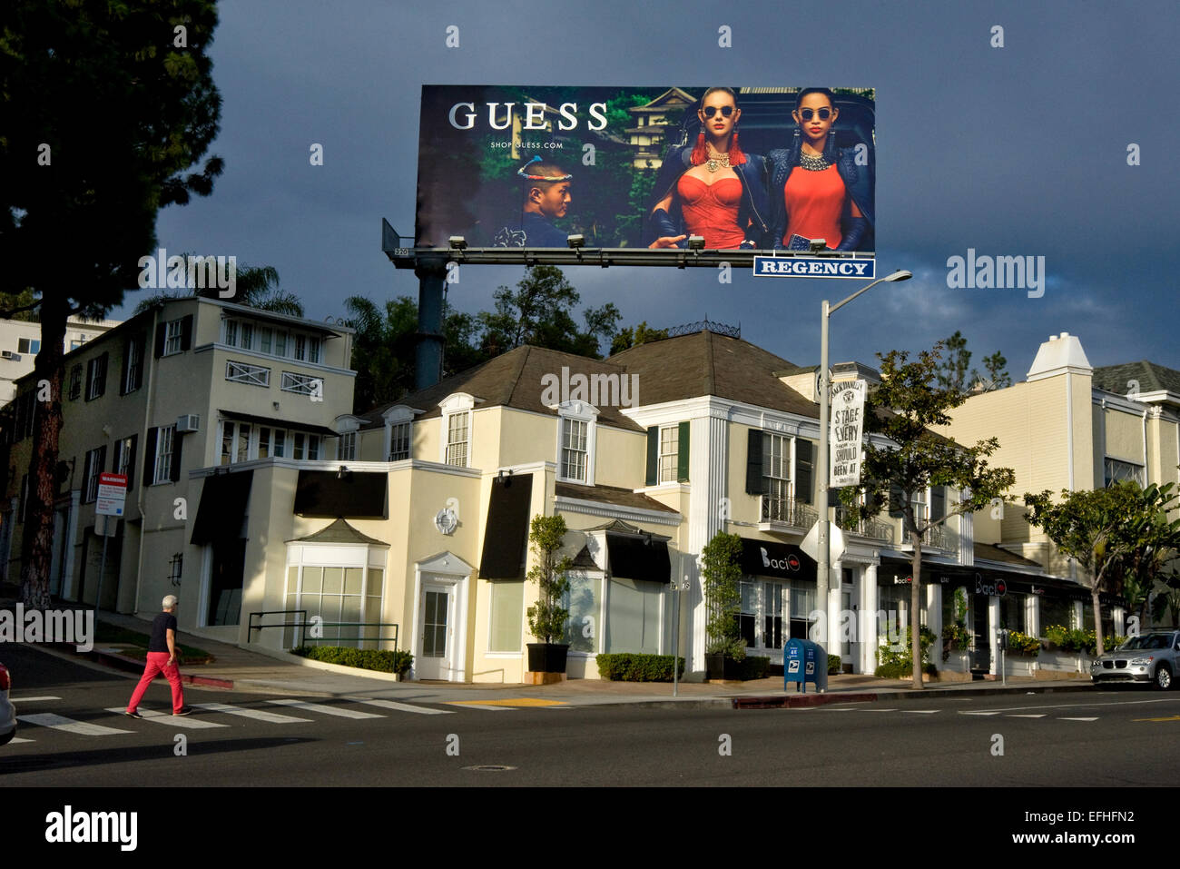 Guess billboard on the Sunset Strip - Stock Image