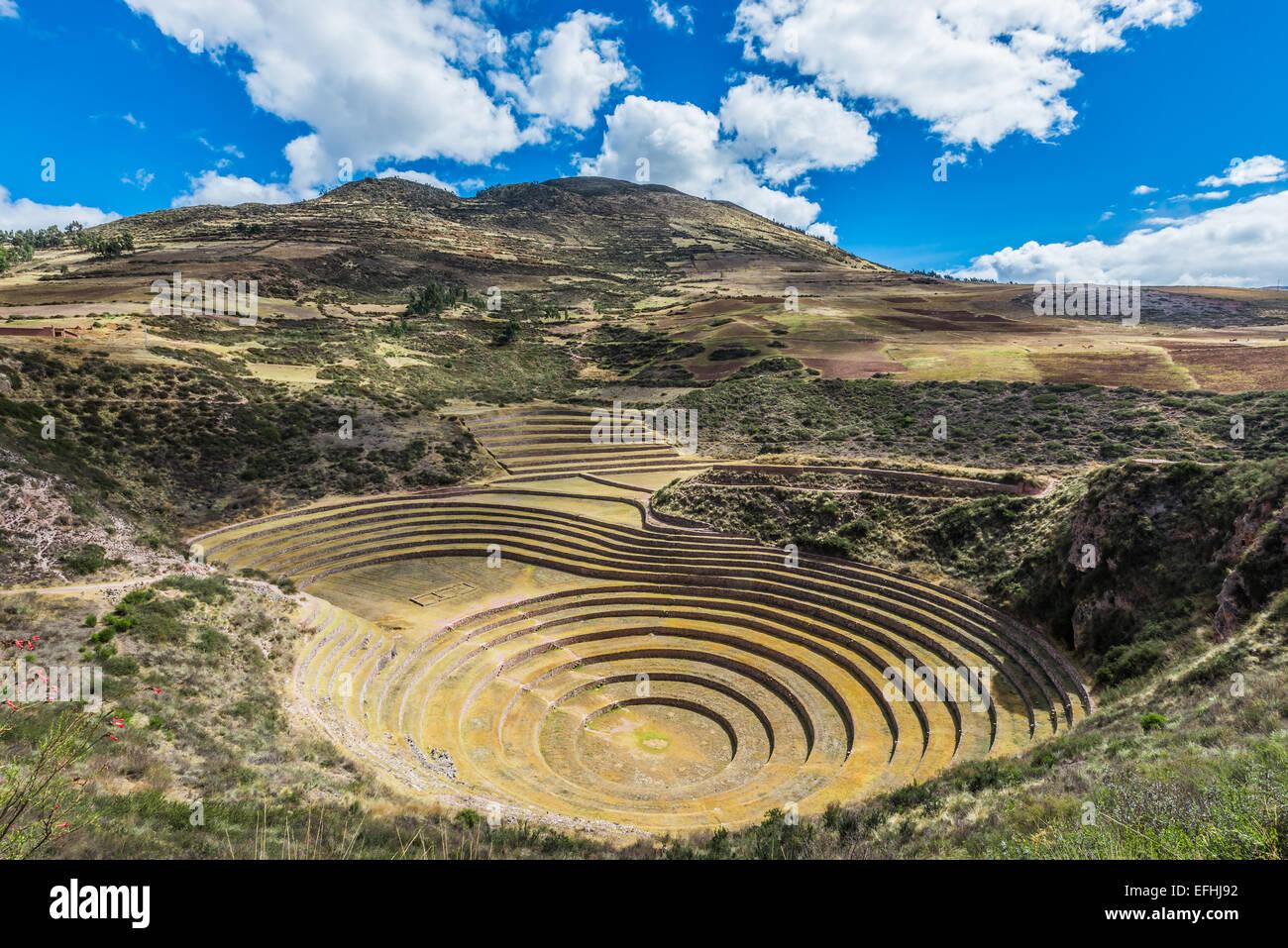 Moray, Incas ruins in the peruvian Andes at Cuzco Peru - Stock Image