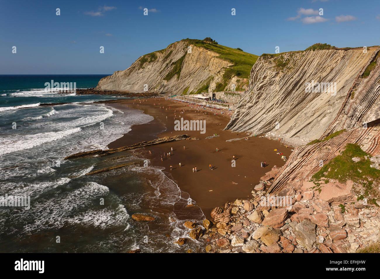 Beach of Zumaia village. Euskadi. Basque country. Spain. Europe - Stock Image