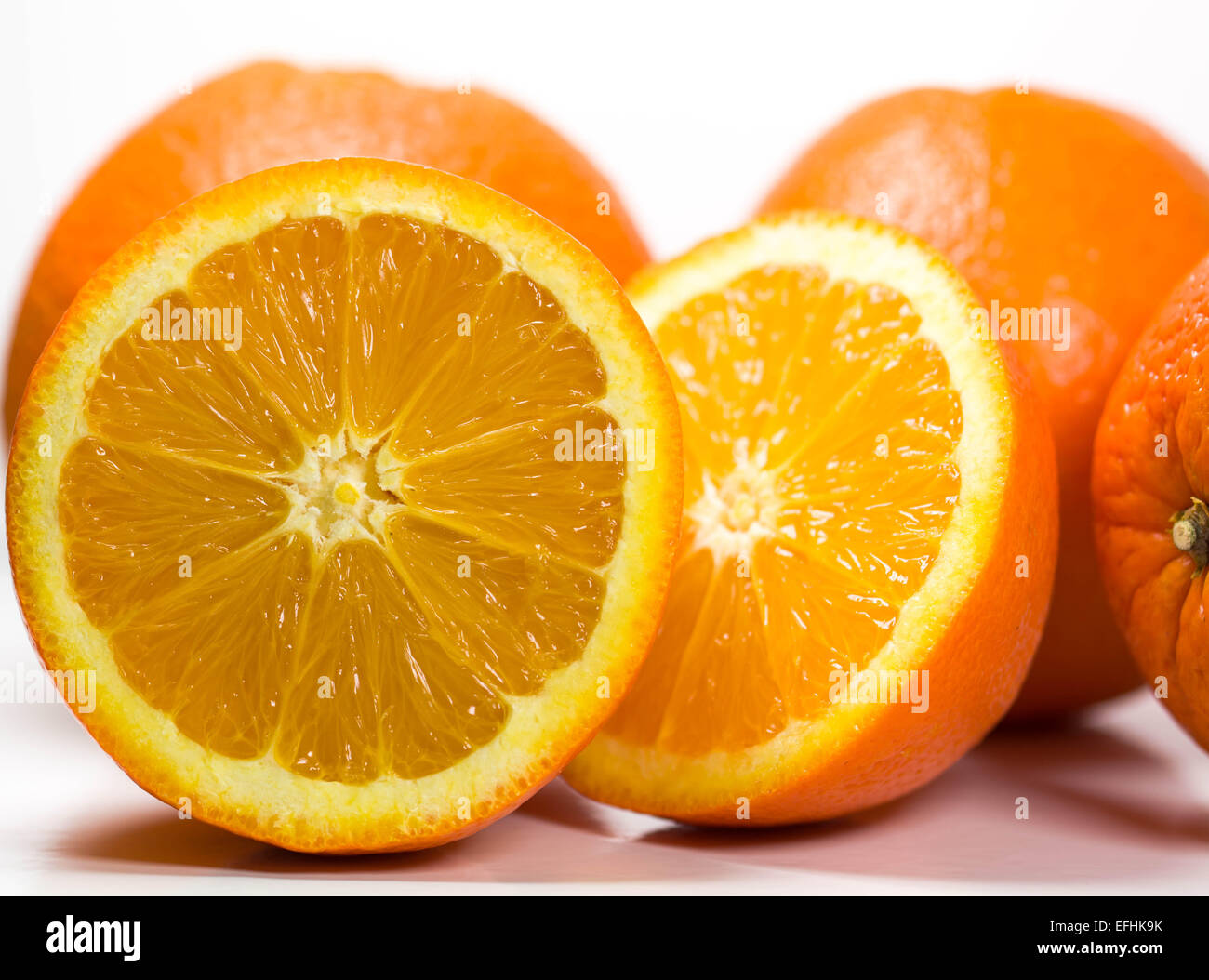Oranges isolated on a white background. - Stock Image