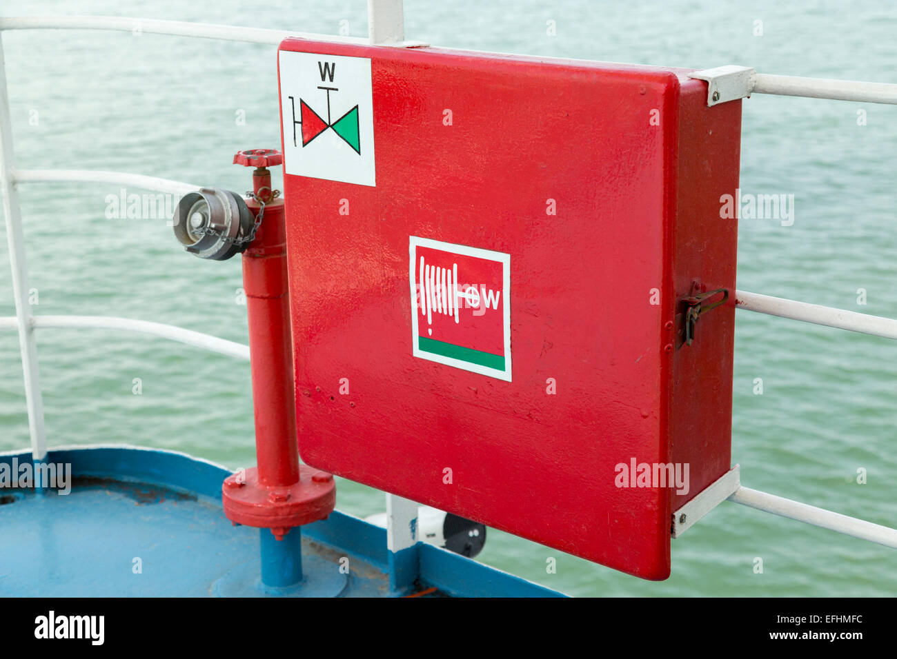 Firefighting equipment on deck of car ferry - Stock Image