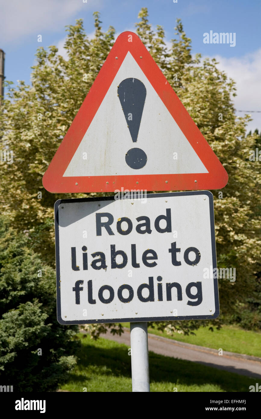 Flood warning sign on post  for motorists in rural England Stock Photo