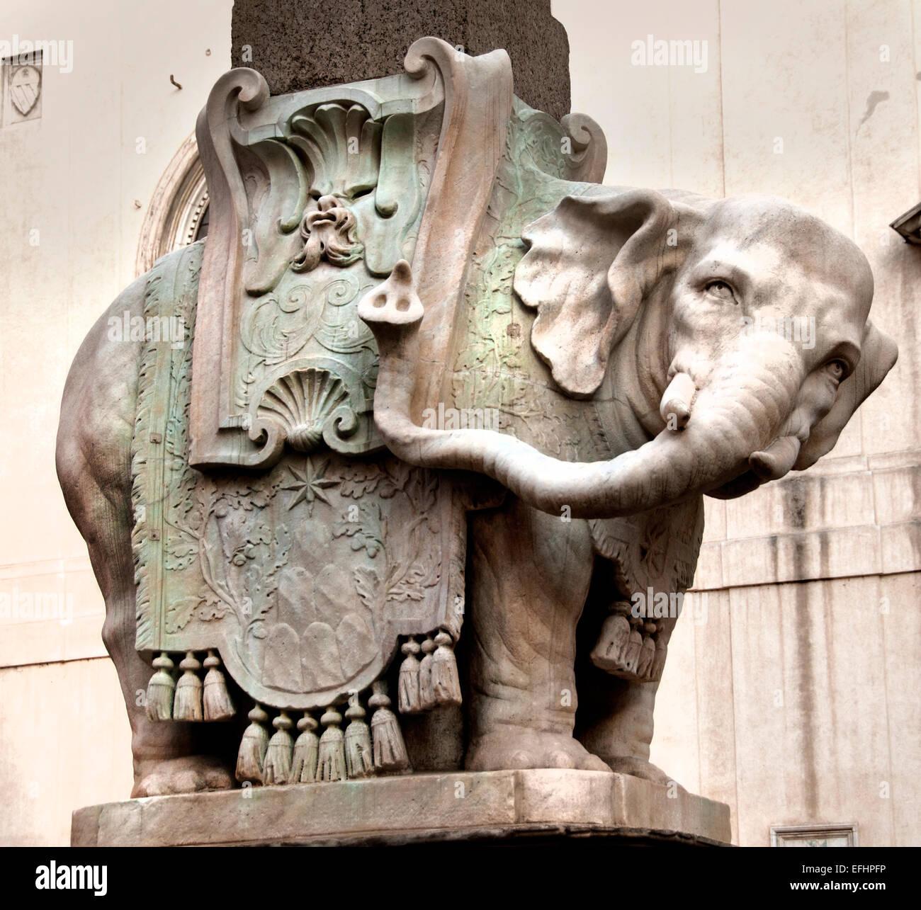 Elephant Obelisk of Santa Maria sopra Minerva by Bernini outside church of same name in the piazza square Rome Italy - Stock Image
