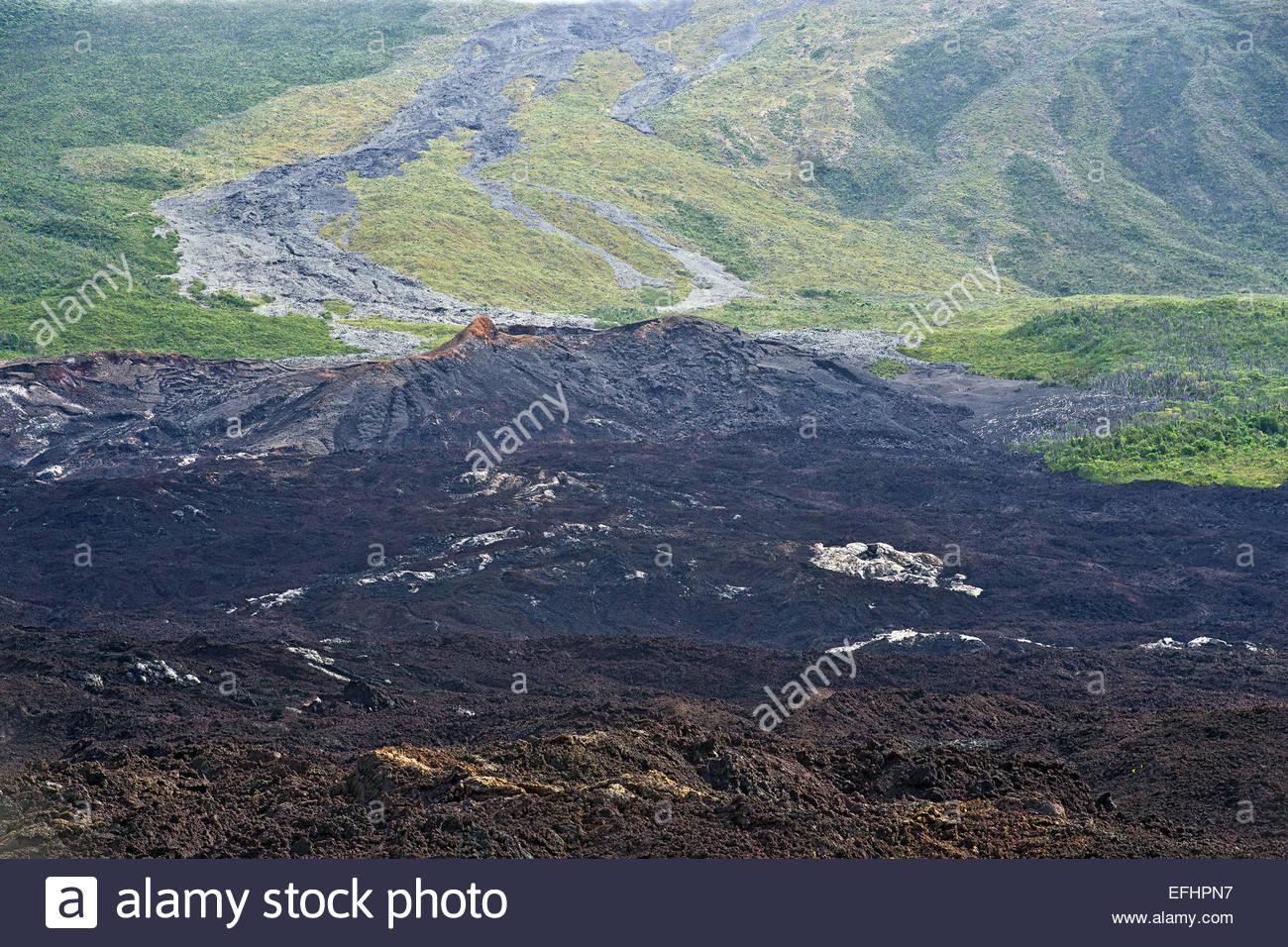 Reunion island : lava flow - Stock Image