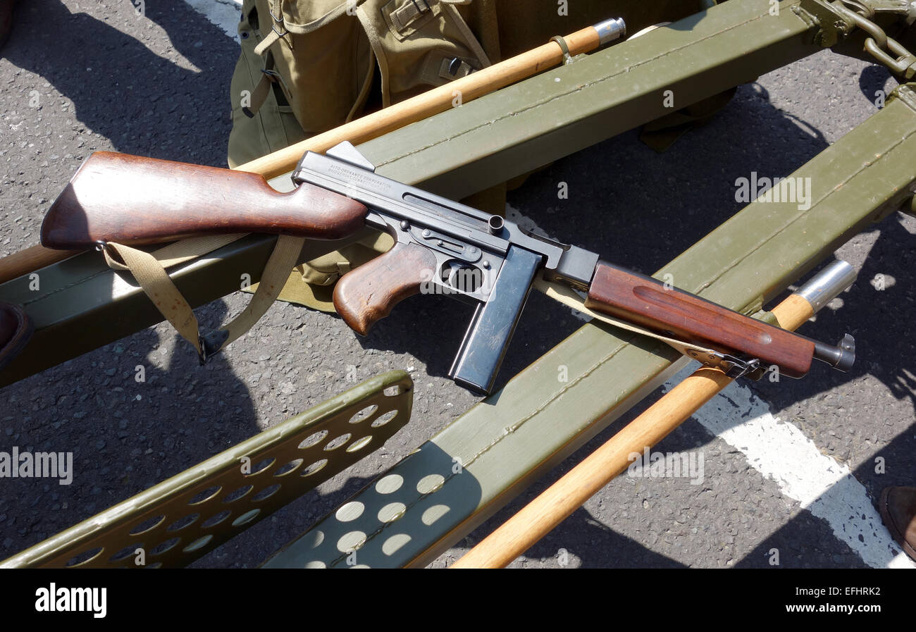 Thompson submachine gun, World War Two era machine gun ...