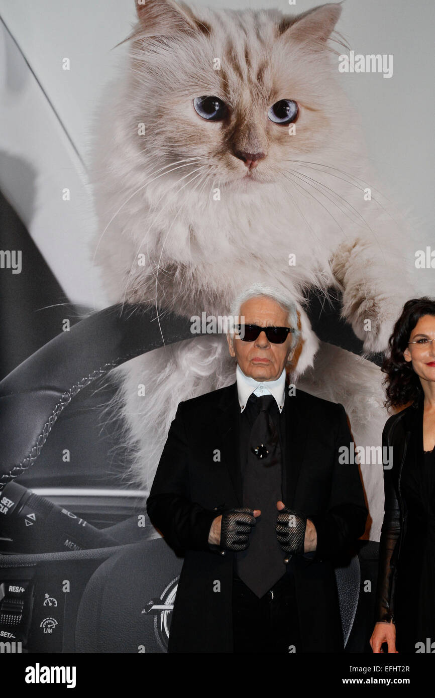 Berlin. 3rd Feb, 2015. Karl Lagerfeld at the opening of the exhibition of his photographs 'Corsa Karl and Choupette' - Stock Image