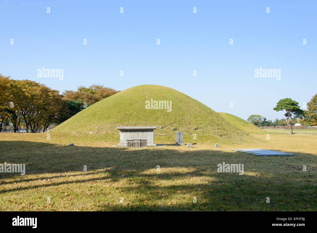 Gyeongju Royal Tomb of King Naemul. King Naemul is the monarch of the Silla kingdom in the history of Korea. Stock Photo