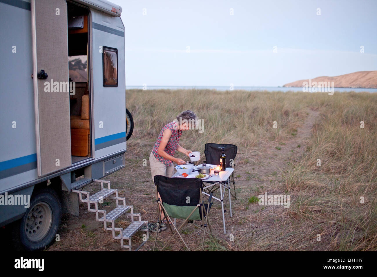 Okains Bay, campsite, camper, mobile home, Okains Bay, Banks Peninsula, South Island, New Zealand - Stock Image