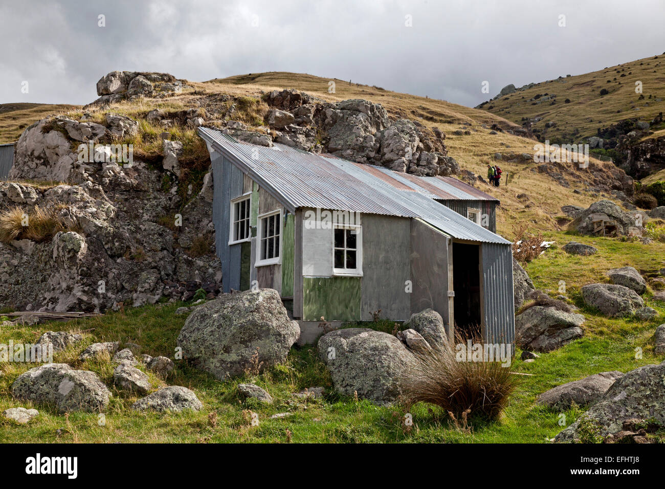 Shelter with corrugated iron roof, Shelter on a farm on the Banks Track Private Walk, Banks Peninsula, Canterbury, - Stock Image