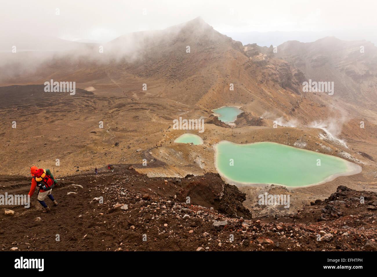 Hike through lava fields and gravel, past turquoise Emerald Lakes, Tongariro Alpine Crossing, Tongariro National - Stock Image