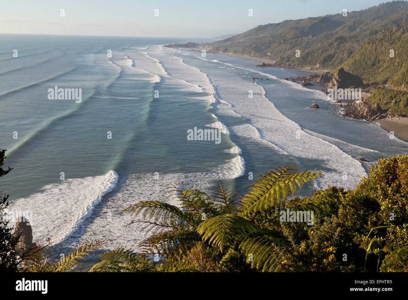 View of breakers and waves on the west coast, Highway 6, Tasman Sea, West Coast, South Island, New Zealand - Stock Image
