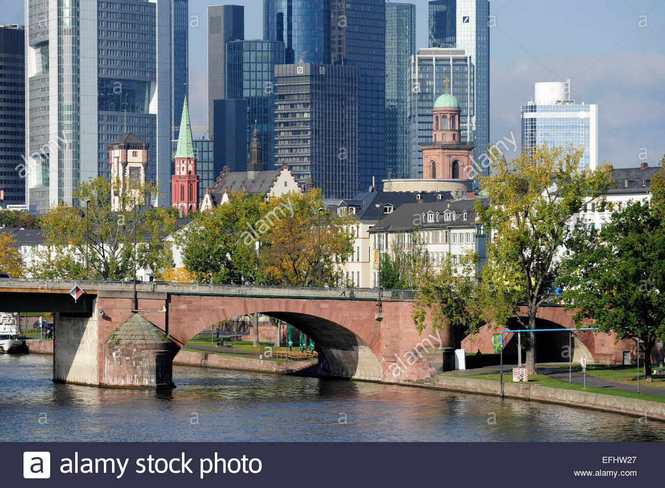 Old Town and banking district, Alte Bruecke bridge crossing the river, Frankfurt am Main, Hesse, Germany - Stock Image
