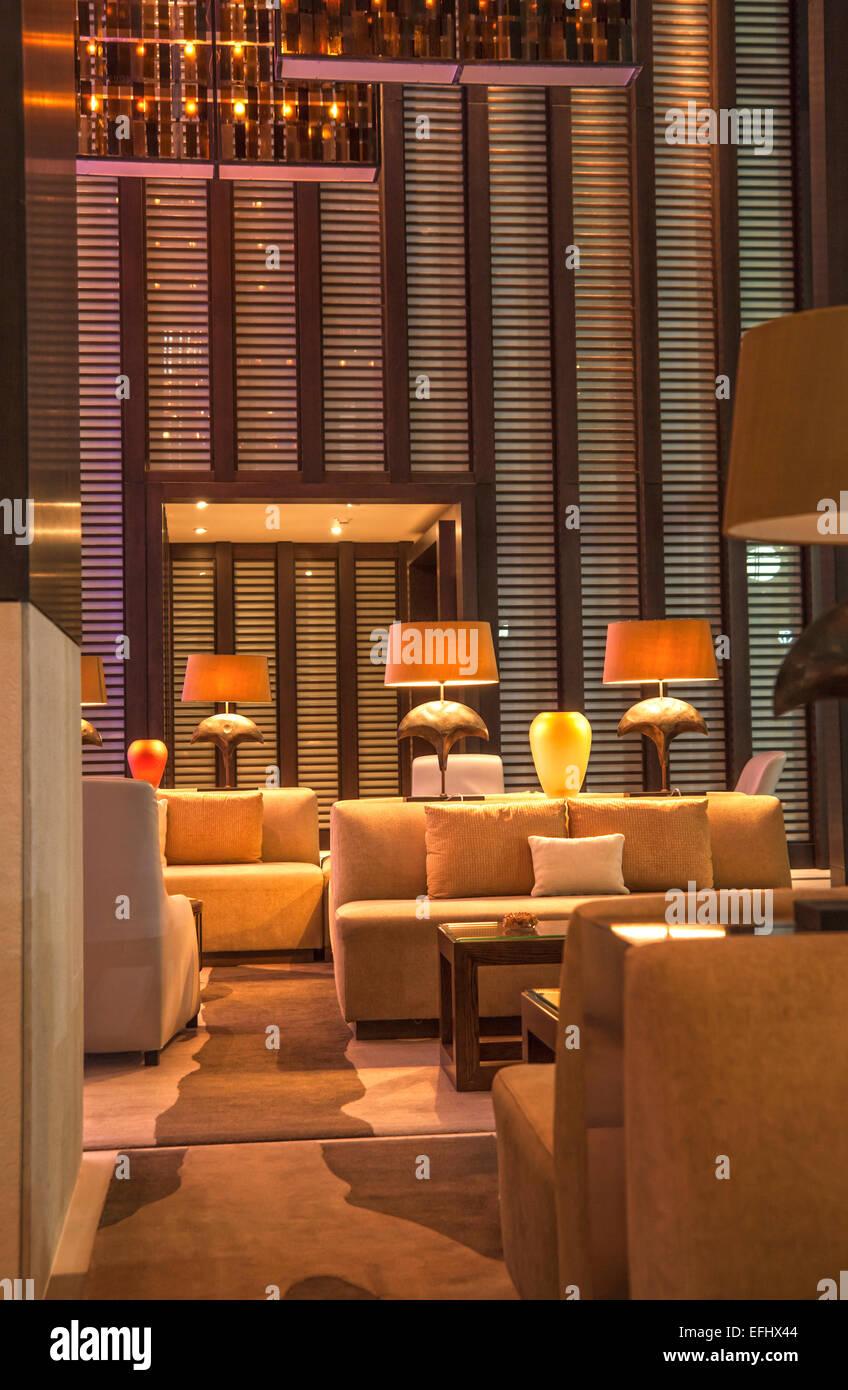Lobby at luxury hotel Epic, Downtown Miami, Miami, Florida, USA - Stock Image