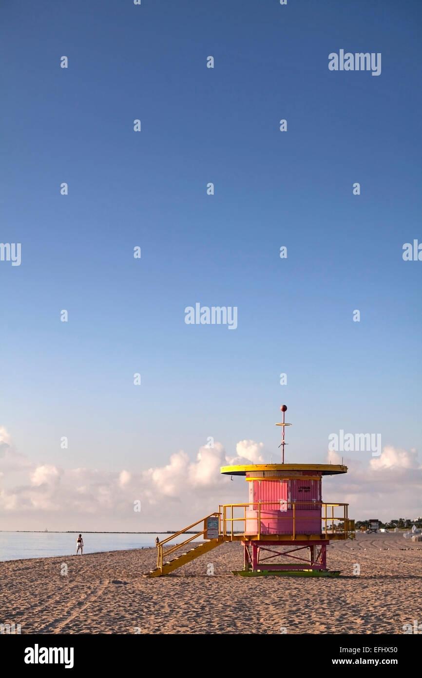Lifeguard Hut, South Beach, Miami, Florida, USA - Stock Image