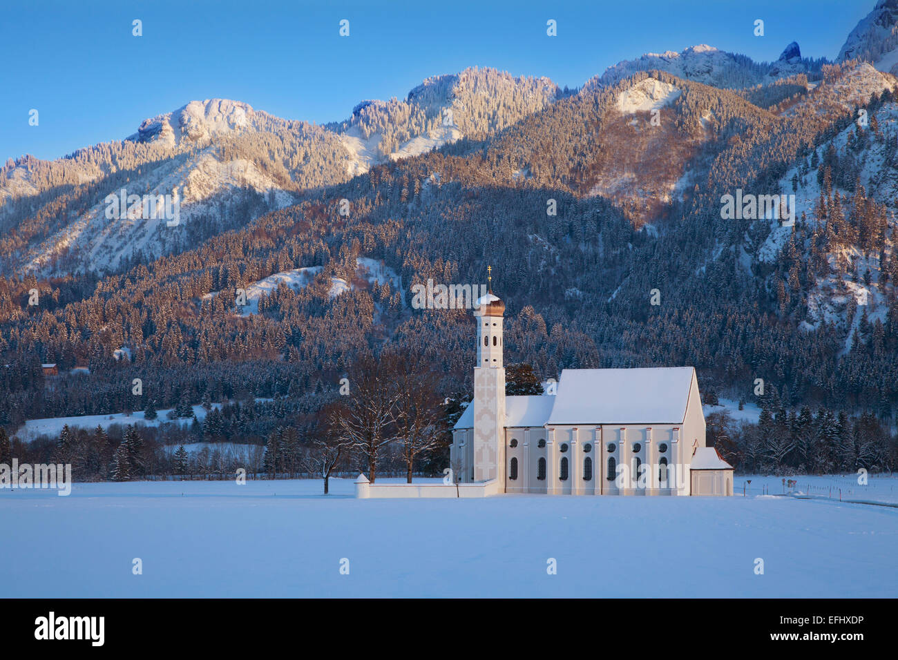 St Coloman pilgrimage church at Schwangau, near Fuessen, Allgaeu, Bavaria, Germany - Stock Image