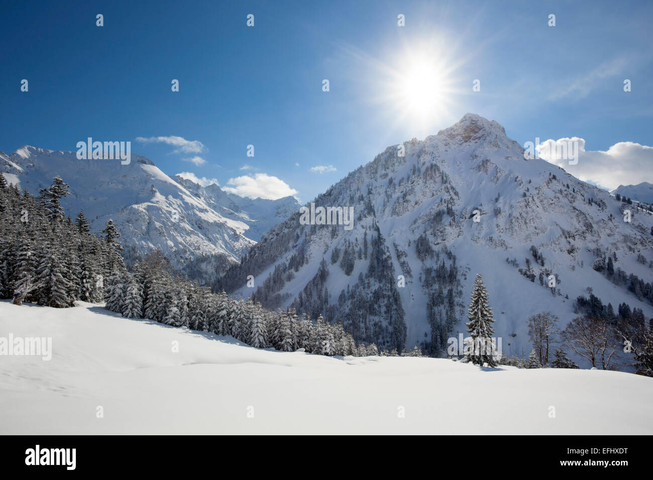 Winter landscape at Hintersteiner Tal, near Bad Hindelang, view to Giebel, Allgaeu, Bavaria, Germany Stock Photo