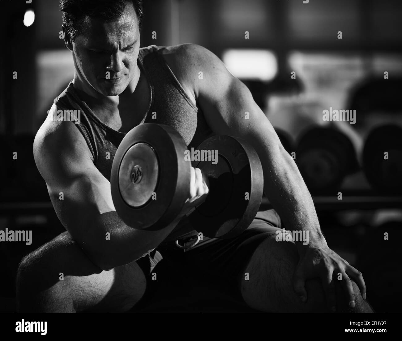Young muscular man with barbell exercising in gym - Stock Image