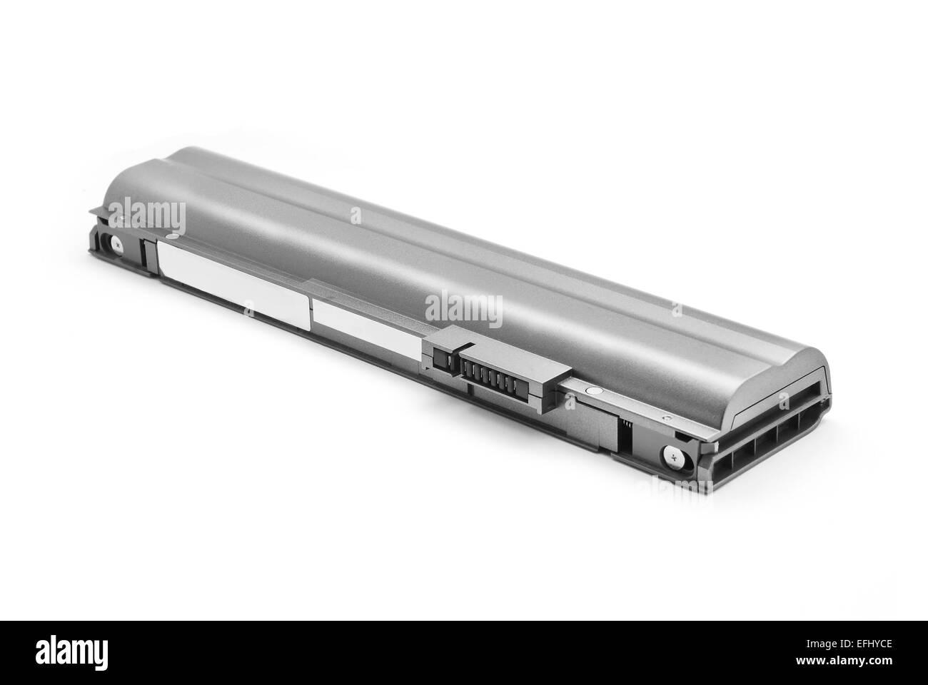 laptop battery on white background - Stock Image
