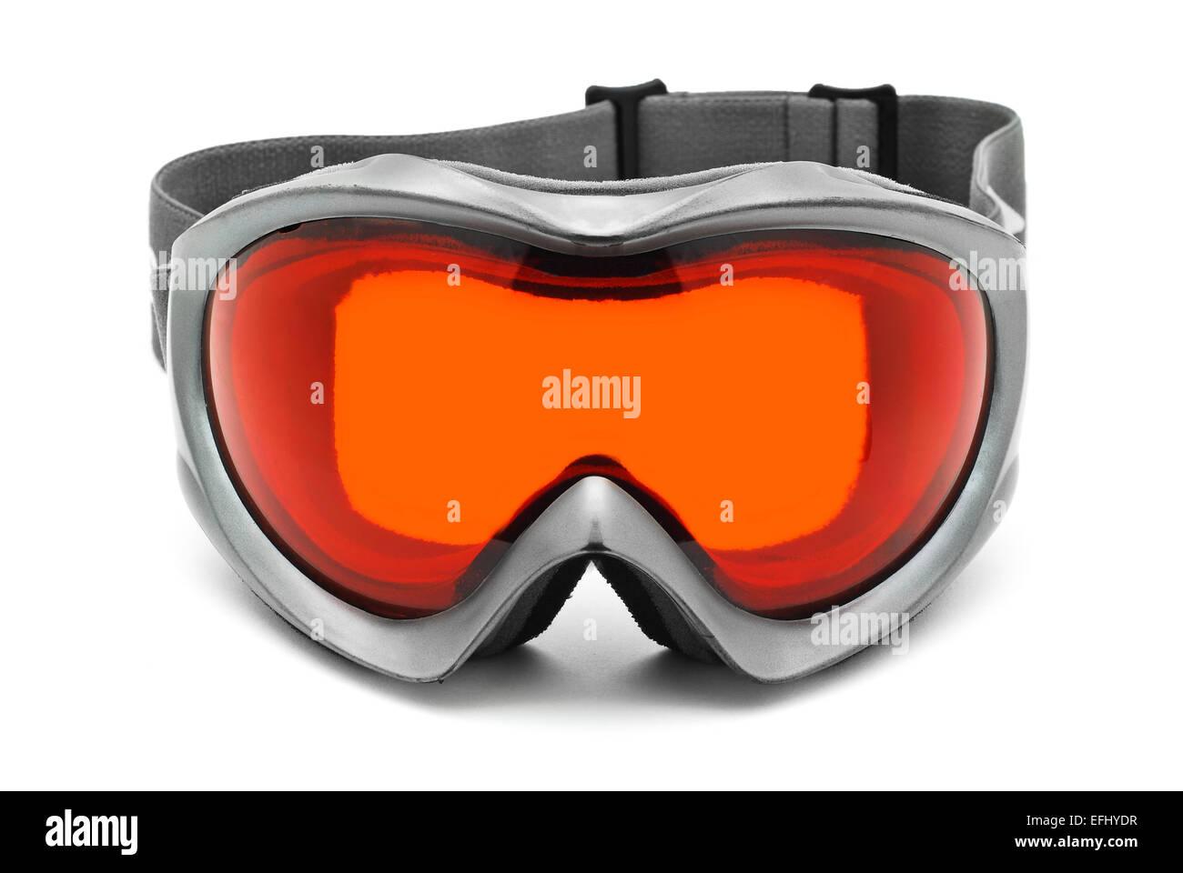 ski winter sport glasses on white - Stock Image