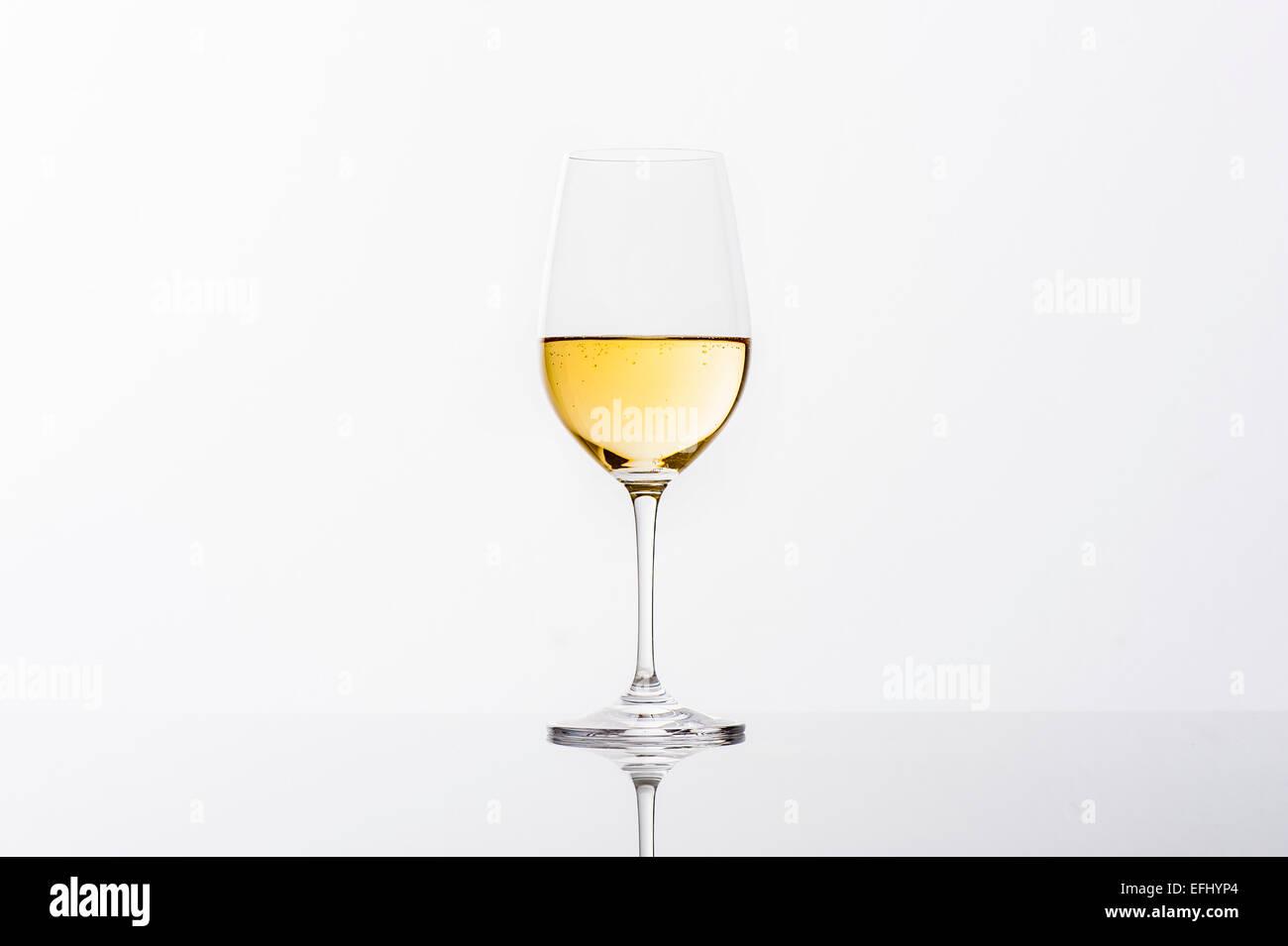 Glass of white wine, Hamburg, Northern Germany, Germany - Stock Image