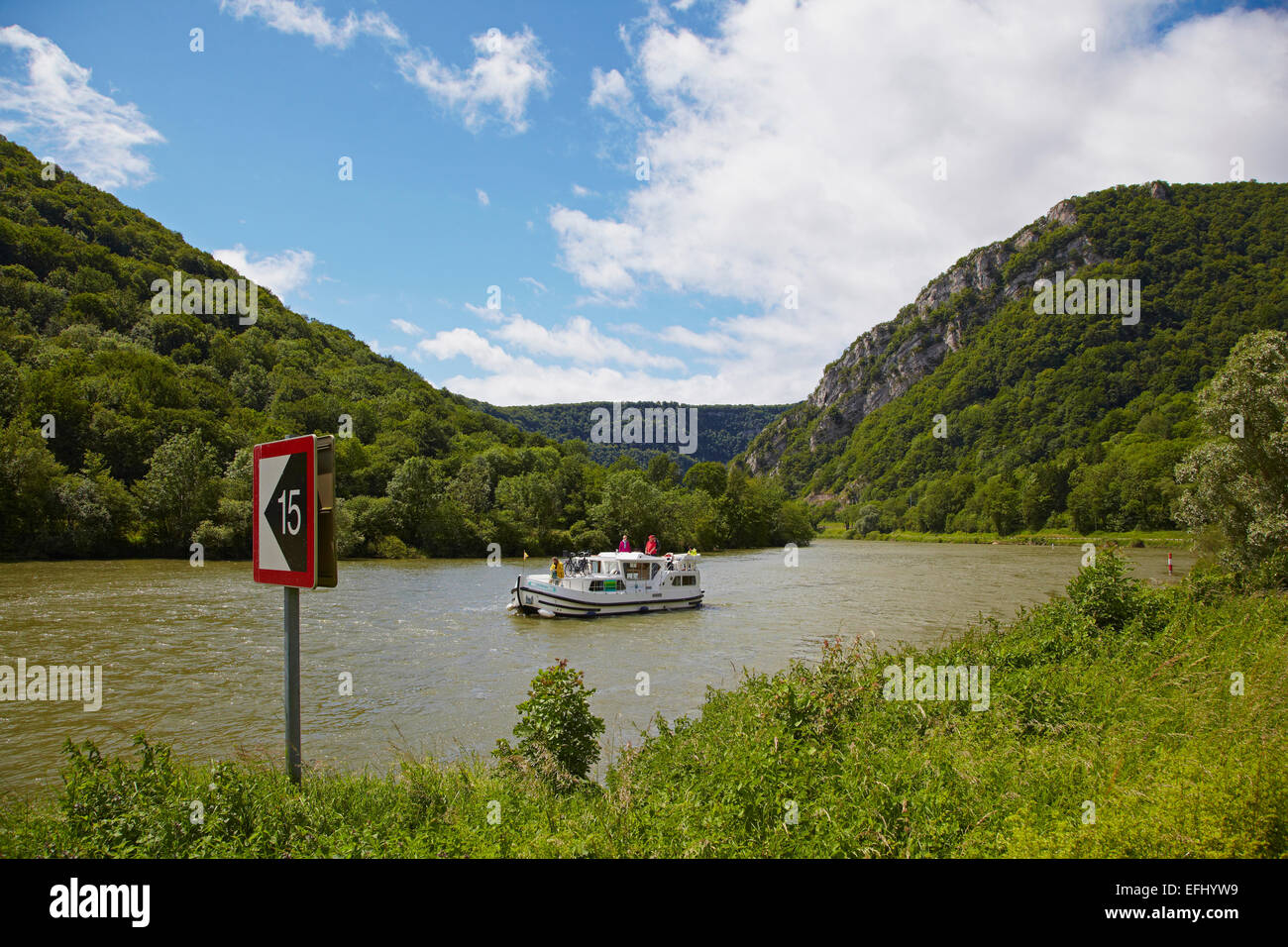 Houseboat in the Doubs-Rhine-Rhone-channel near Douvot, PK 98, Doubs, Region Franche-Comte, France, Europe Stock Photo