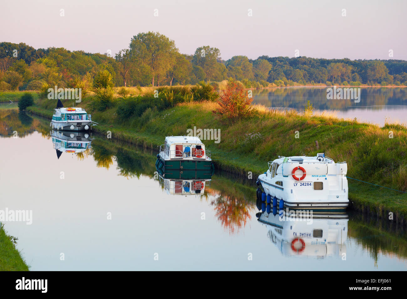 Summer morning on the Canal de la Marne au Rhin at Gondrexange, Houseboat, Moselle, Region Alsace Lorraine, France, - Stock Image