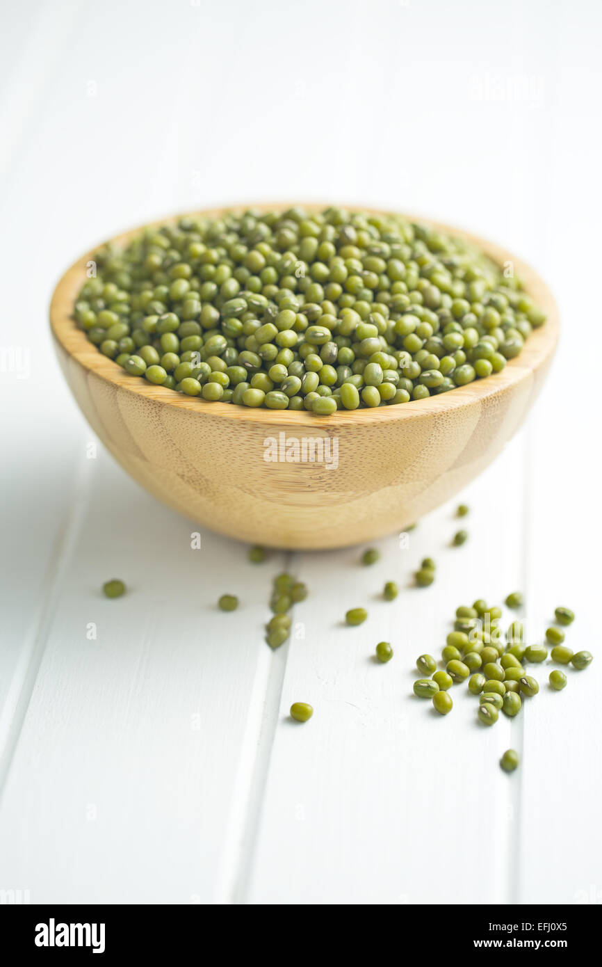 the mung beans on kitchen table - Stock Image