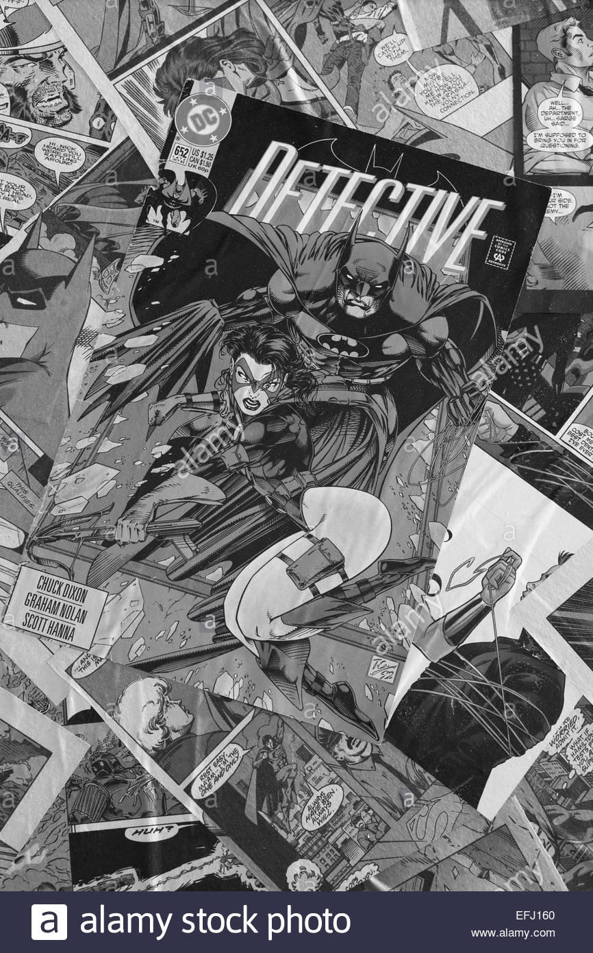 Black and white marvel comics on the top of a camper van superheros stock image