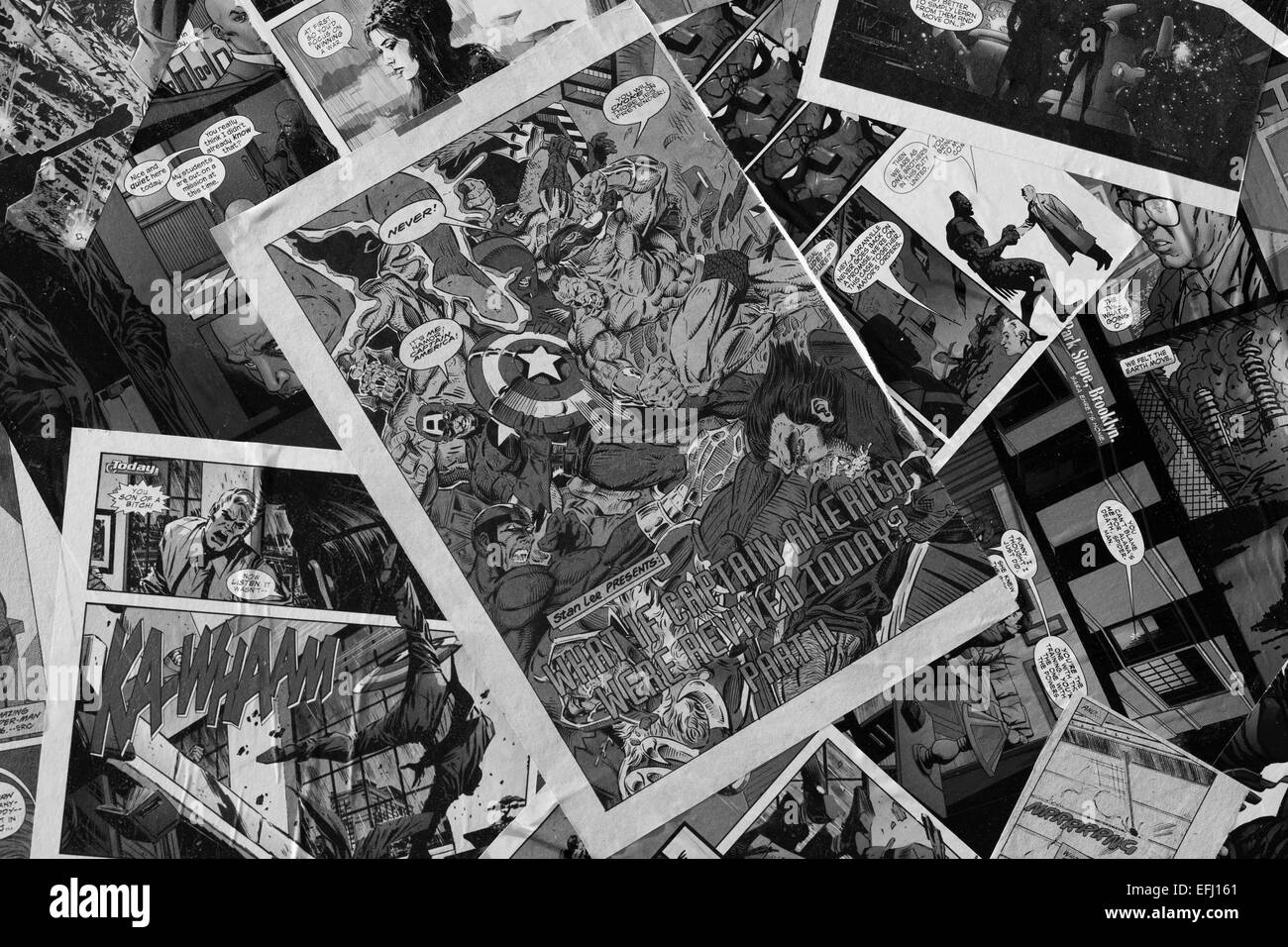 Black and White Marvel comics on the top of a Camper van superheros Stock Photo