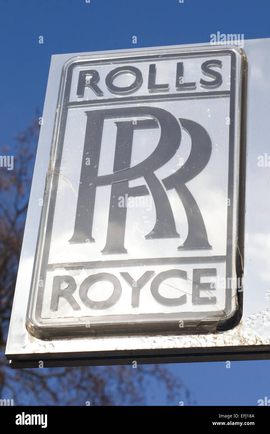 Silver Rolls Royce Emblem sign in London England - Stock Image
