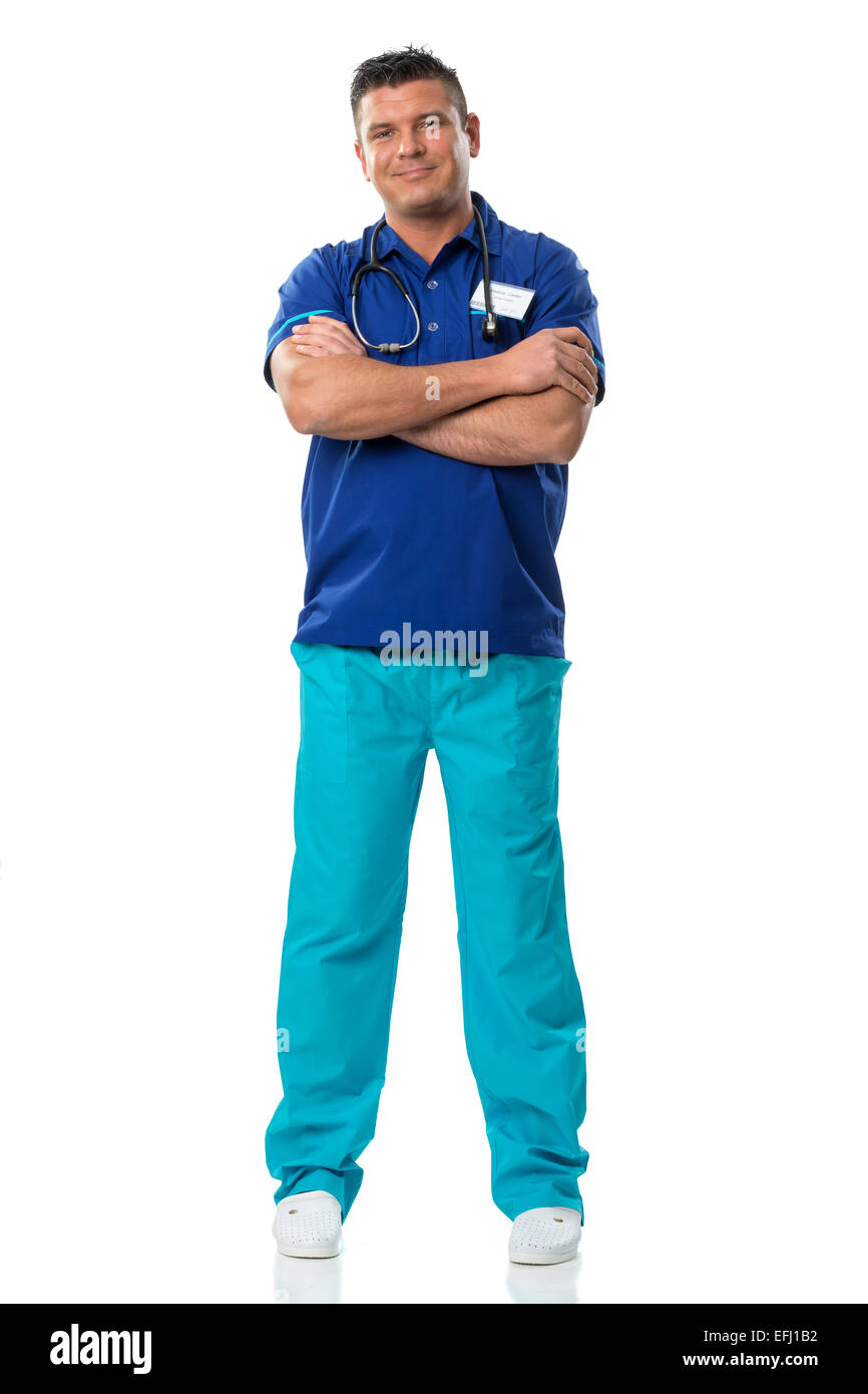 Handsome surgeon in blue special workwear - Stock Image