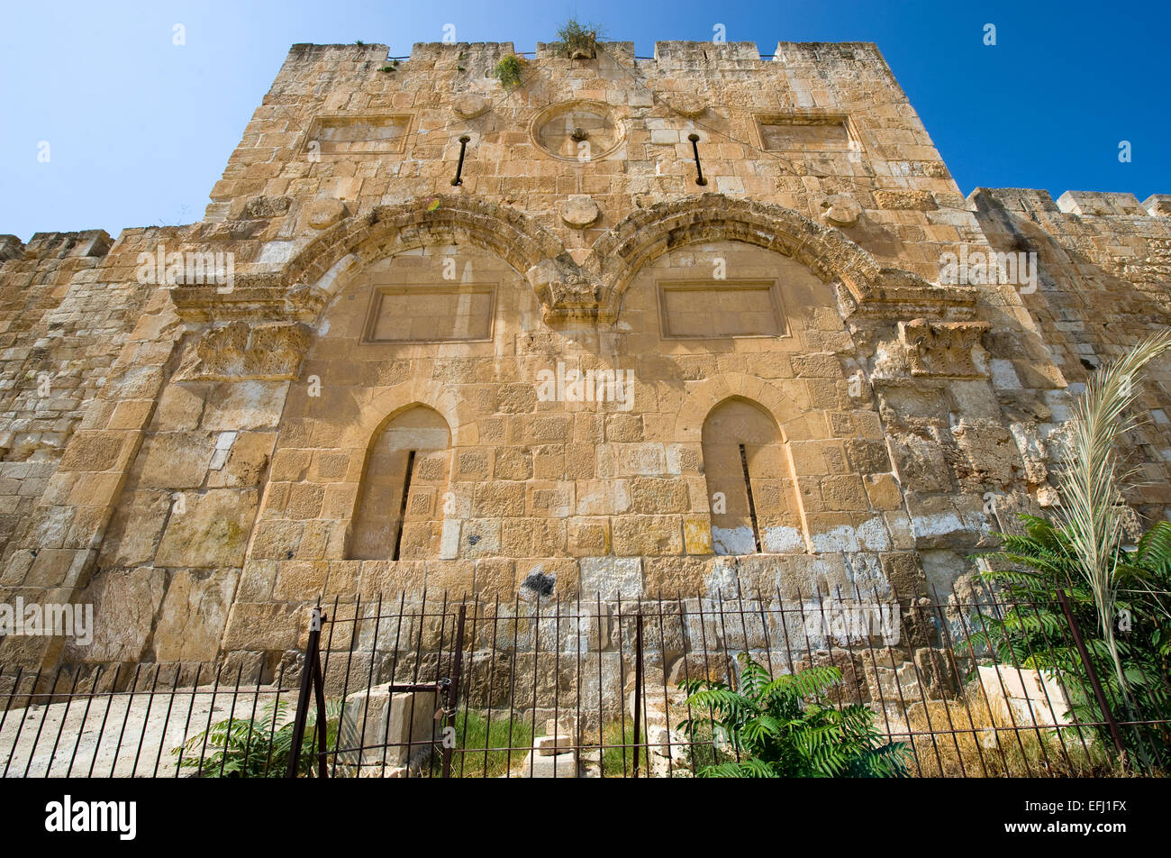 The Golden Gate on the east-side of the Temple mount of Jerusalem - Stock Image
