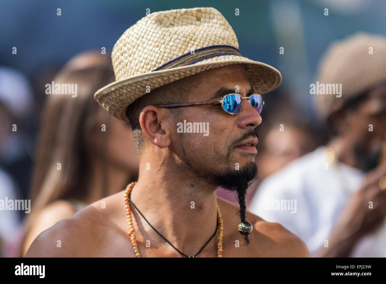 Man in Hat, Notting Hill Carnival, Notting Hill, Kensington & Chelsea, London, England, United KingdomStock Photo