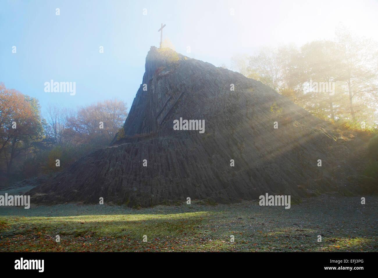 Druid rock, Druidenstein near Herkersdorf, Basalt formation, Westerwald, Rhineland-Palatinate, Germany, Europe - Stock Image