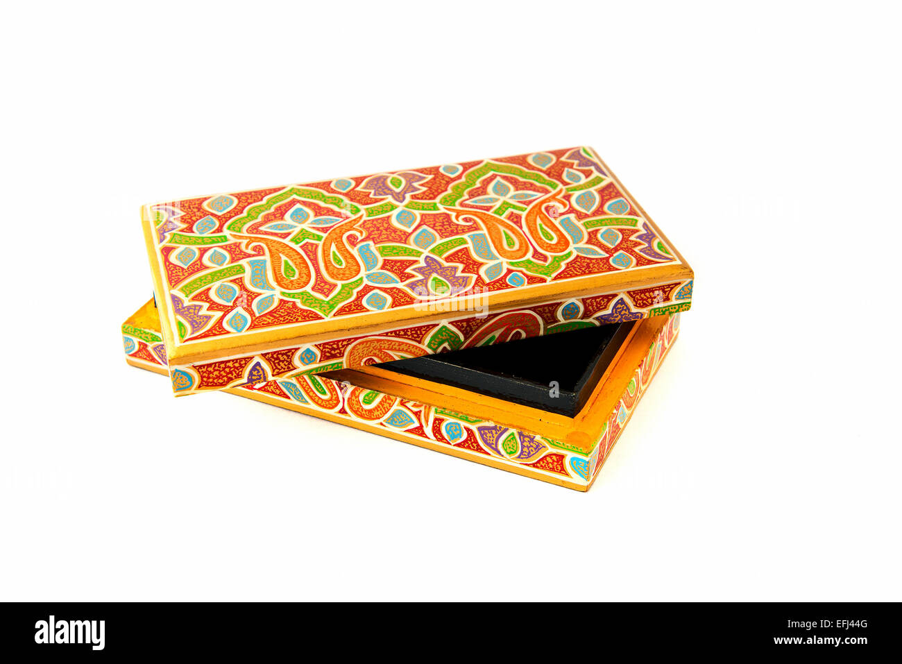 indian lacquered rectangular box for jewel - Stock Image