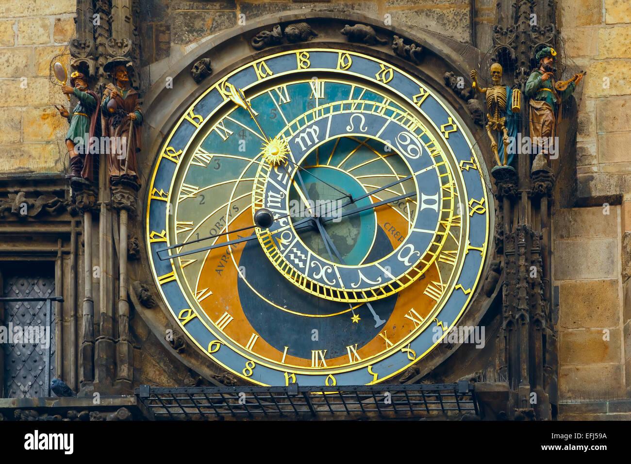 Prague Astronomical Clock (Orloj) in the Old Town Square, Czech republic - Stock Image