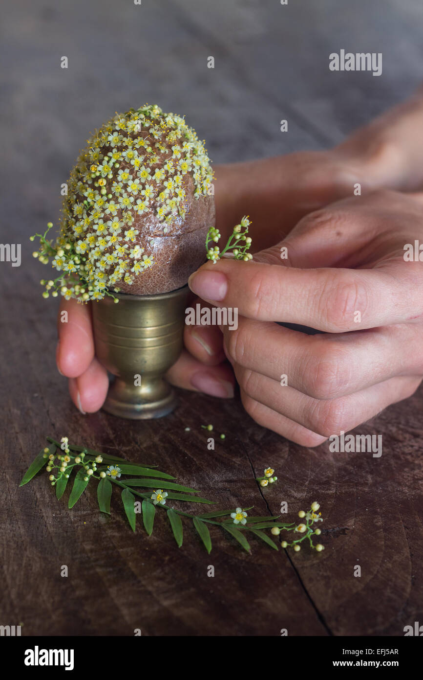 hobby crafting hands holding decorating flowers gift making - Stock Image