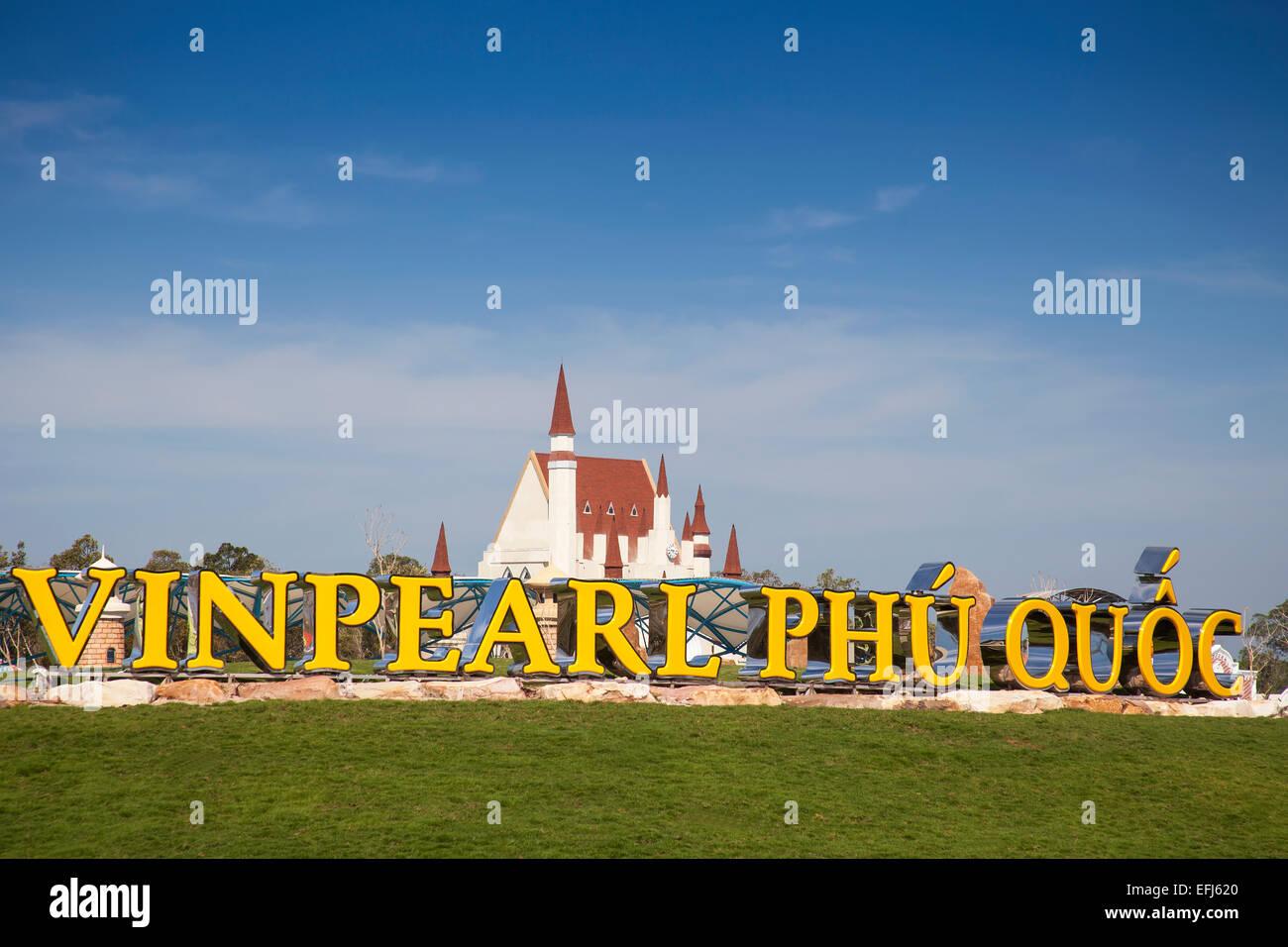 Entrance to the amusement park Vinpearl Phu Quoc, Phu Quoc, Vietnam - Stock Image