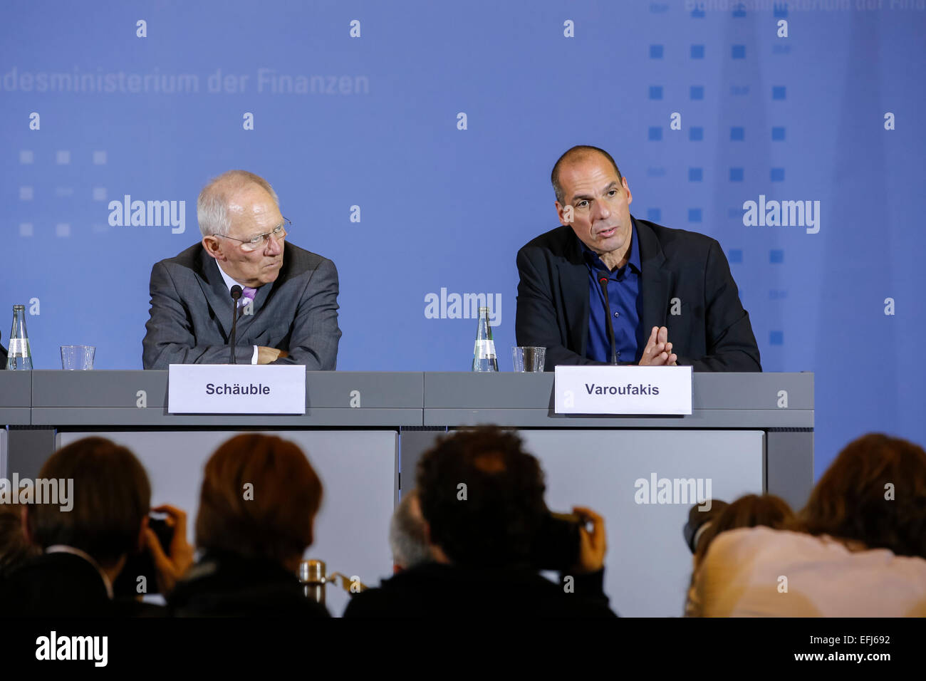 Berlin, Germany. 05th Feb, 2015. Wolfgang Schäuble (CDU), German Minister of Finance, and Yanis Varoufakis, - Stock Image