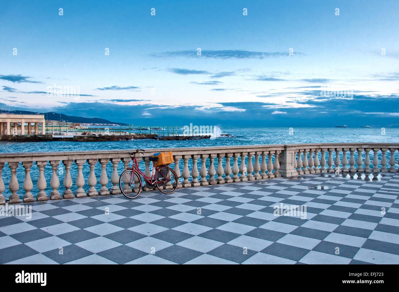 Mascagni terrace and Mediterranean sea in Livorno. Tuscany - Italy. - Stock Image