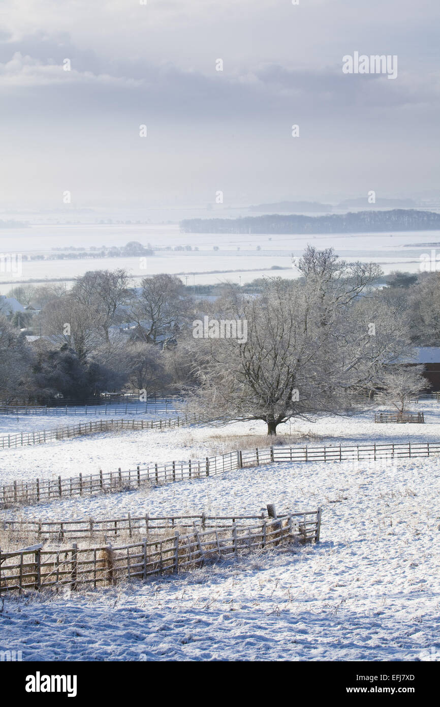 Worlaby village and the Ancholme Valley, North Lincolnshire, UK. 3rd February 2015. - Stock Image