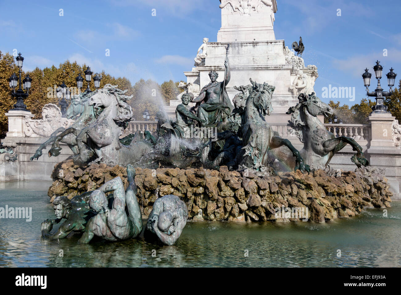 The monument of Girondists on the ' Place des Quinconces', in Bordeaux (Aquitaine - France). Erected between 1894 Stock Photo